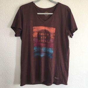 "Life is Good T shirt graphic tee ""Hello SunShine"""